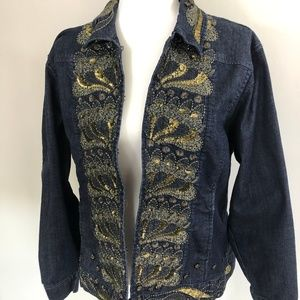 Chicos Highly Sequined and Beaded Jean Jacket